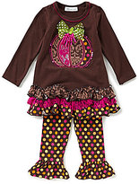 Bonnie Jean Little Girls 2T-6X Thanksgiving Pumpkin Ruffle Dress & Leggings Set