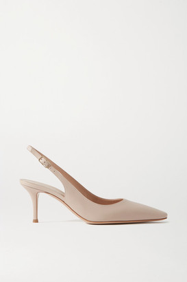 Gianvito Rossi 70 Leather Slingback Pumps - Beige