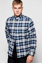 boohoo Navy Long Sleeve Check Shirt