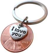 JewelryEveryday I Love You Heart Charm Layered Over 2013 Penny Keychain; 4 Year Anniversary Gift