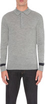 Hardy Amies Striped sleeve merino wool polo shirt