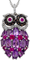 JCPenney FINE JEWELRY Sterling Silver Multi-Gemstone Owl Pendant Necklace