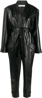 Philosophy di Lorenzo Serafini Leather Look Belted Jumpsuit