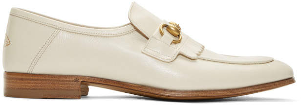 Gucci White Harbor Loafers