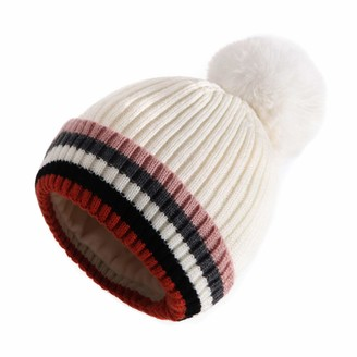 MEANBEAUTY Winter Hat for Women Knitted Cosy Fleece Liner Beanie Hat with Faux Fur Bobble Pom Pom Hats for Outdoor Sports Ski Beige