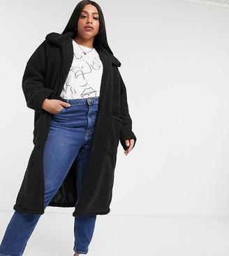 Brave Soul Plus heavenly long coat in borg-Black