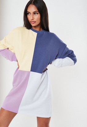 Missguided Tall Lilac Colorblock Sweater Dress