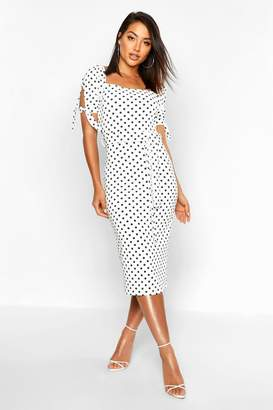 boohoo Polka Dot Belted Midi Dress