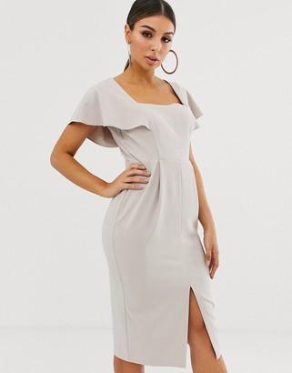 ASOS DESIGN angel sleeve midi dress