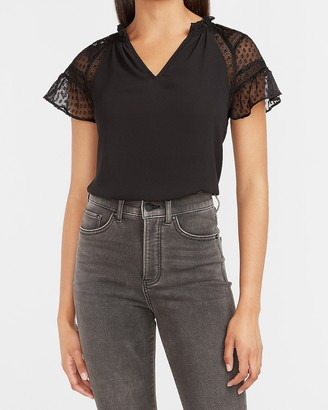 Express Lace Clip Dot Sleeve Top