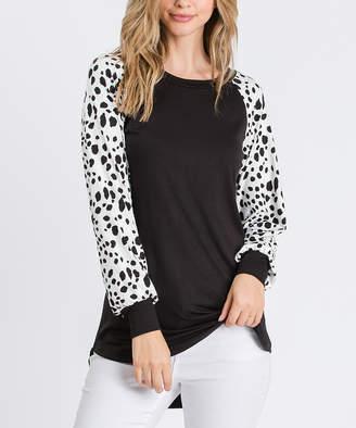 Cool Melon Women's Tee Shirts White - Black & White Dalmatian Cuffed Raglan Tee - Women & Plus