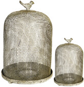 A&B Home Set Of Two Ophira Golden Sparrow Mesh Candle Holders