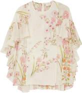 Giambattista Valli Ruffled Floral-print Silk-georgette Blouse - Ivory