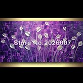 Mermaid Art Hand Painted Landscape Modern Purple Pearl White Tulips Palette Knife thick oil painting Canvas Wall Decor Living Room Artwork Fine (24x48inch)