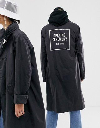 Opening Ceremony nylon box logo trench coat-Black