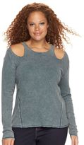 Rock & Republic Plus Size Ribbed Cut-Out Shoulder Tee