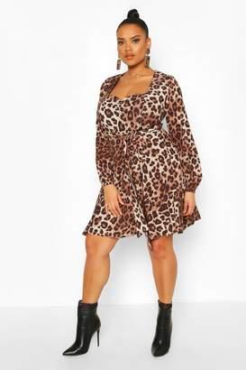boohoo Plus Leopard Long Sleeve Belted Skater Dress