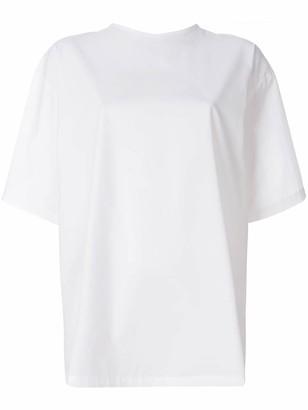 MSGM embroidered slogan back ruffle T-shirt