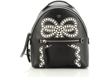 Fendi Front Zip Backpack Embellished Leather Mini