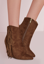 Missguided Tassel Side Wedge Boots Tan