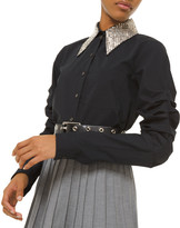 Michael Kors Beaded-Collar Ruched-Sleeve Button Front Shirt