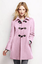 Lands' End Women's Basketweave Wool Toggle Coat-Pink