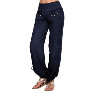 Tuduz Pants TUDUZ Womens Casual Harem Trousers Cotton and Linen Long Pants Baggy Hareem Hippy Boho Style Leggings (Khaki S)