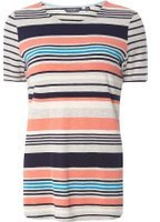 Dorothy Perkins Womens **Tall Coral And Grey Stripe T-Shirt- Grey