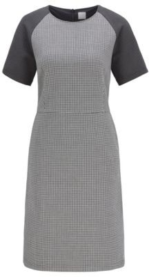 HUGO BOSS Short-sleeved dress with houndstooth motif and side pockets