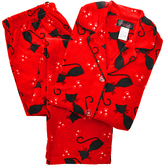 Angelina Red Cats Giftable Fleece Pajama Set - Plus Too