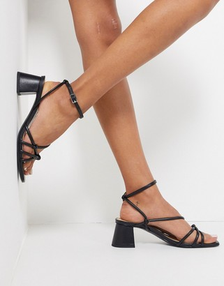 And other stories & block heel strappy sandal in black