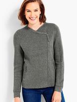 Talbots Asymmetrical Zip-Front Moto Sweater Jacket