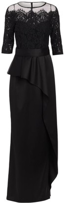 Teri Jon by Rickie Freeman Asymmetric Lace Ruffle Column Gown