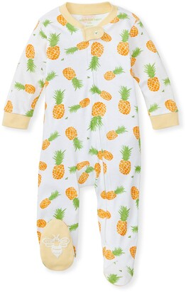 Burt's Bees Maui Gold Organic Baby Zip Front Loose Fit Footed Pineapple Pajamas