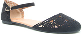 Qupid Black Perforated State D'Orsay Flat