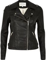 River Island Womens Black leather look whipstitch biker jacket