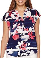 Liz Claiborne Sleeveless Extended Shoulder Print Top - Tall