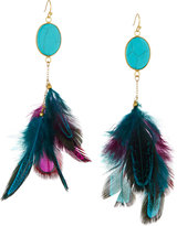 Panacea Simulated Turquoise & Feather Drop Earrings