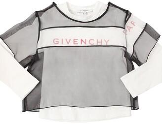 Givenchy PRINTED COTTON JERSEY T-SHIRT W/ORGANZA