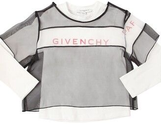Givenchy Printed Cotton Jersey T-shirt W/organza