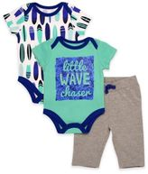 Baby Starters 3-Piece Wave Chaser Bodysuits and Pant Set in Green