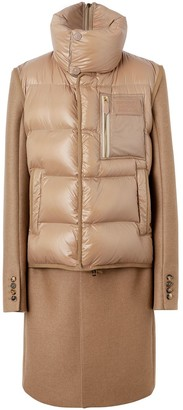 Burberry Down-filled Gilet Detail Camel Hair Tailored Coat