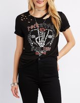 Charlotte Russe Distressed Rock 'N' Roll Graphic Tee