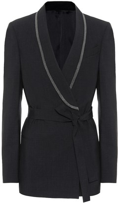 Brunello Cucinelli Embellished wool-blend blazer