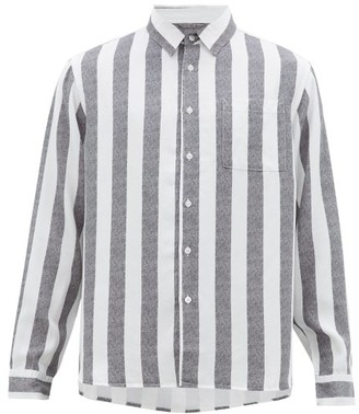 Saturdays NYC Perry Candy-striped Patch-pocket Lyocell Shirt - Mens - Black White
