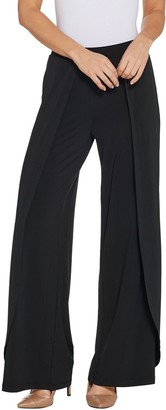 H by Halston Regular Jet Set Jersey Fly-Away Wide Leg Pants