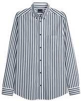 H&M Premium Cotton Shirt - White/dark blue striped - Men
