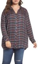 Caslon Plus Size Women's Button Side Detail Tunic Shirt