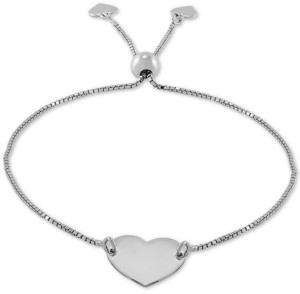 Giani Bernini Polished Heart Bolo Bracelet in Sterling Silver, Created for Macy's