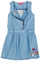 Betsey Johnson Chambray Moto Dress with Patches & Embroidery (Big Girls)